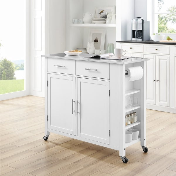 """Savannah Stainless Steel Top Full-size Kitchen Island Cart - 37""""H x 42""""W x 18.25""""D. Opens flyout."""