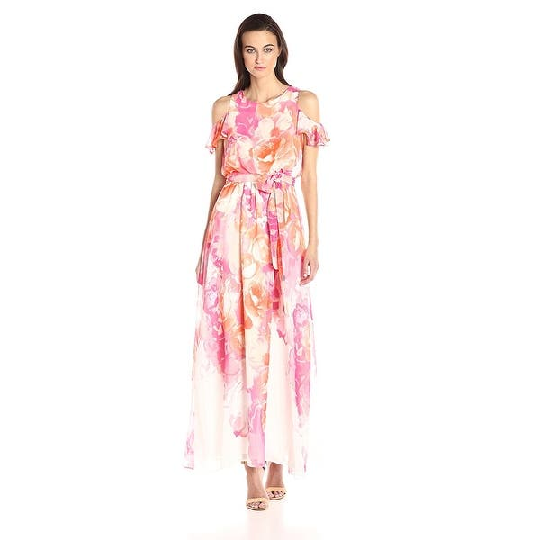 7b94a8f34 Shop Vince Camuto Floral Cold Shoulder Maxi Dress Ivory/Coral - 16 - Free  Shipping Today - Overstock - 20537101