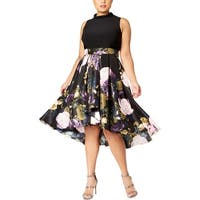 SLNY Womens Plus Special Occasion Dress Midi Pleated