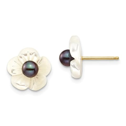 14K Yellow Gold 3-4mm Black Freshwater Cultured Pearl with 10mm MOP Flower Post Stud Earrings by Versil
