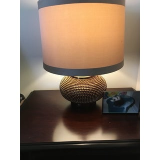 "Safavieh Lighting 19-inch Alexis Taupe Gold Bead Table Lamp - 14"" x 14"" x 19"""