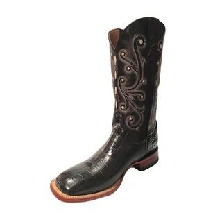 Ferrini Western Boots Mens Cowboy Caiman Gator Print Black