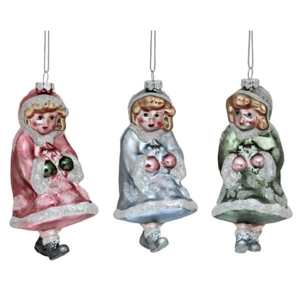 Pack of 6 Glitter Embellished Girl Glass Christmas Ornaments 5.5""