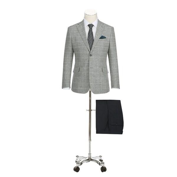 Mens Slim Fit Plaid Blazer Cotton and Linen-Blend Sport Coat