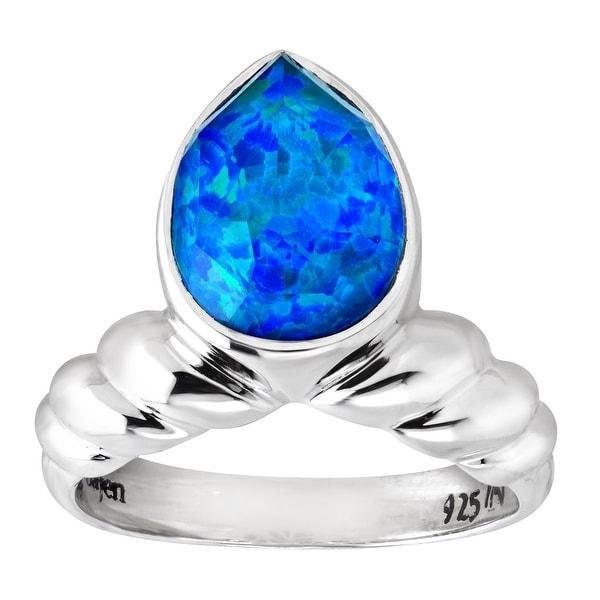Sajen Natural Blue Opal Quartz Doublet Ring in Sterling Silver