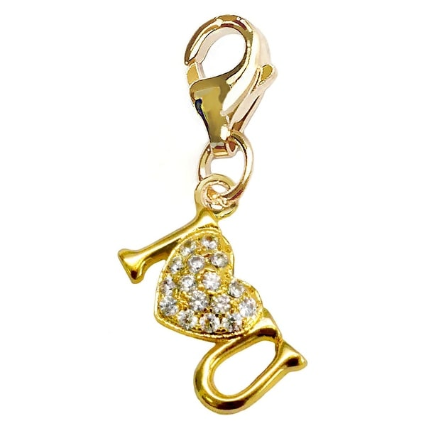 Julieta Jewelry I Heart U Handwriting Gold Sterling Silver Charm