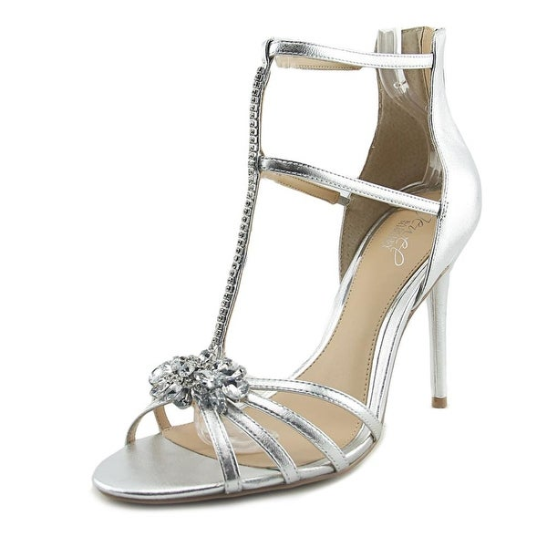Jewel Badgley Mischka Hazel II Women Open Toe Leather Silver Sandals