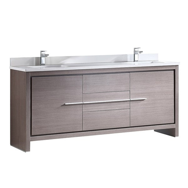 "Fresca FCB8172-U Allier 72"" Free Standing Vanity Set with Plywood Cabinet, Quartz Vanity Top, and Dual Undermount Sinks"
