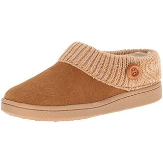 Clarks Womens Scuff Mule Slippers Suede Faux Fur Lined
