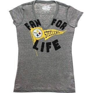 Pittsburgh Steelers Women's Gray Fan for Life V-Neck T-Shirt