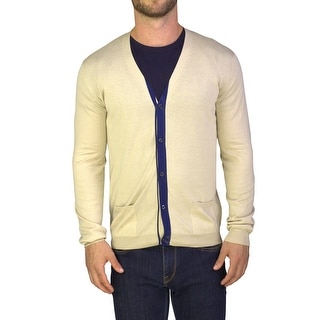 Prada Men's Cotton Cardigan Sweater Beige Blue