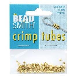 BeadSmith Crimp Tubes, 2x2mm, 100 Pieces, Gold Plated