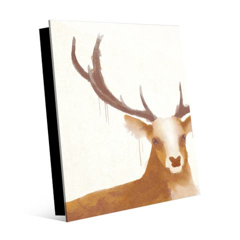 Kathy Ireland Prince of the Forest in Sienna Abstract Deer on Acrylic Wall Art Print