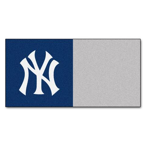 MLB New York Yankees Team Carpet Tile Flooring Squares, 20-PC Set