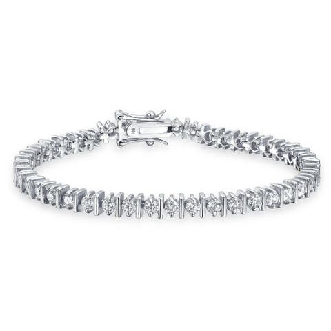 Classic Bar Set Round Solitaire Cubic Zirconia CZ Thin Prong Set Tennis Bracelet For Women 925 Sterling Silver