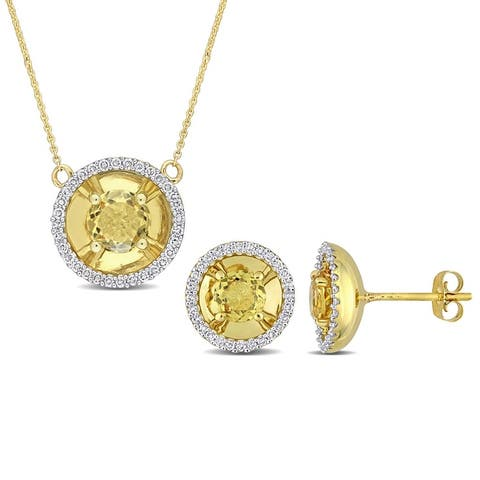 Miadora Citrine and 3/8ct TDW Diamond Halo Station Earrings and Necklace Set in 10k Yellow Gold