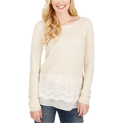 Lucky Brand Womens Lace Trim Knit Sweater