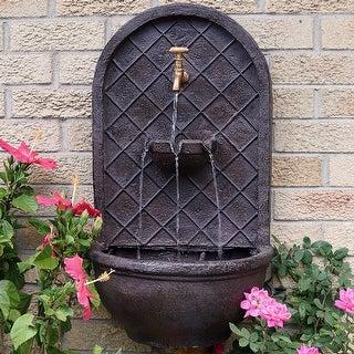 Sunnydaze Messina Outdoor Solar Wall Water Fountain - Iron Finish - 26-Inch - Bronze|Bronze - Solar Powered