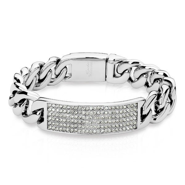 """Crystal Pave Large Curb Chain Stainless Steel ID Bracelet - 8.5"""" (Sold Ind.)"""