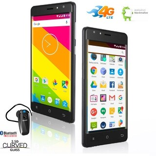"""Indigi Ultra Slim 4G LTE Unlocked Android 6.0 + 5"""" Curved Display + Bluetooth Included - Black"""