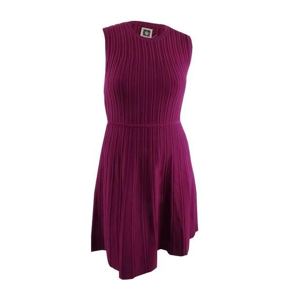 8c24368fdabc9 Anne Klein Women's Knit Fit & Flare Dress (L, Claret) - Claret - L