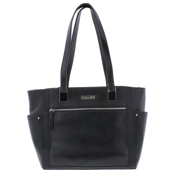 Kenneth Cole Reaction Womens Kay Tote Handbag Faux Leather Embossed Medium