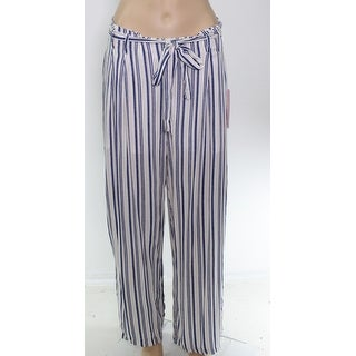 Fashion on Earth Women's Casual Pants Blue Size Large L Striped Belted