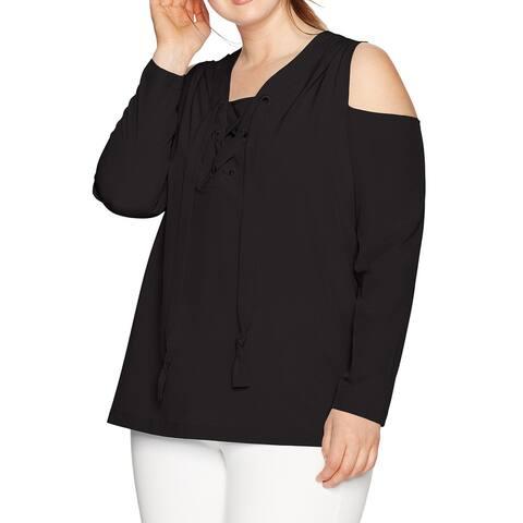 Love Scarlett Womens Blouse Black Size 2X Plus Lace-Up Cold-Shoulder