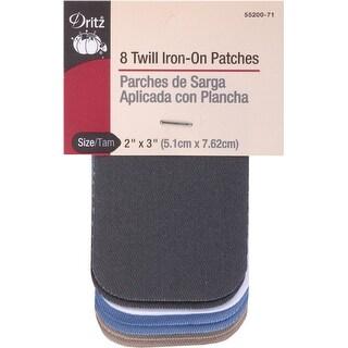 "Iron-On Patches 2""X3"" 8/Pkg-Light Twill Assortment"