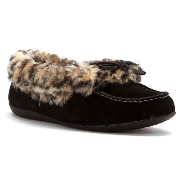 Vionic Womens Cozy Juniper Moc Toe Shearling Slipper Shoes - Black