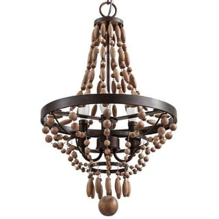 """Park Harbor PHHL6243 Casa Maya 14"""" Wide 3 Light Single Tier Empire Style Chandelier with Wood Bead Accents"""