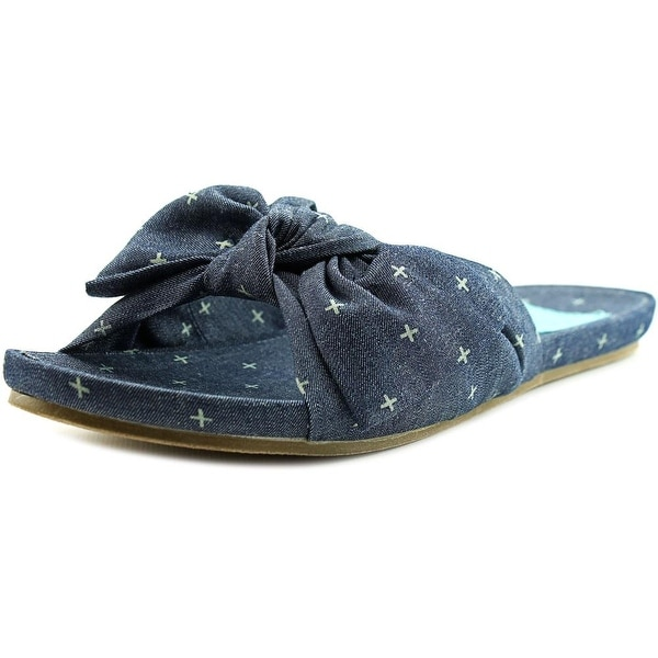 Blowfish Ginah Women Open Toe Canvas Blue Slides Sandal