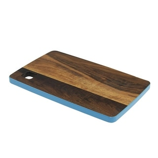 "12.5"" Small Handcrafted Walnut Wood Cutting Board with Dark Blue Trim"
