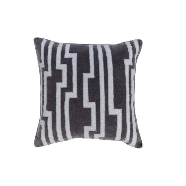 "20"" Smokey Black and Silver Gray Charming Key Patterned Decorative Throw Pillow"