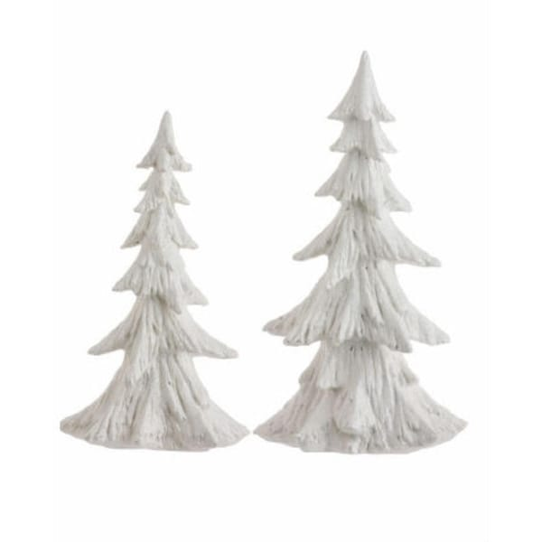 Set of 2 Snow Drift Ivory Glittered Christmas Tree Figures 15""