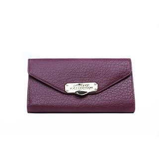 Versace Collection Solid Maroon Grained Leather Continental Wallet