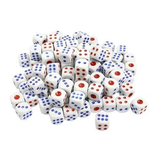 Unique Bargains Plastic Game Dices White Blue Red 100 Pcs