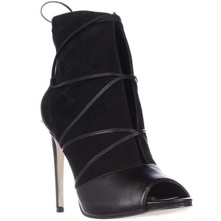 GUESS Ayana Peep Toe Laced Up Dress Ankle Boots - Black Multi
