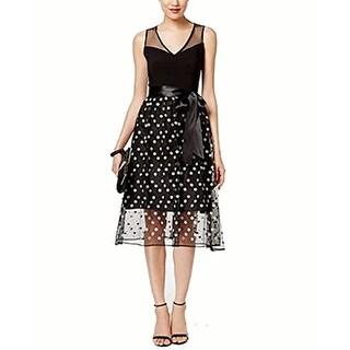 SL Fashions Floral-Print Mesh A-Line Dress, Black/White, 12