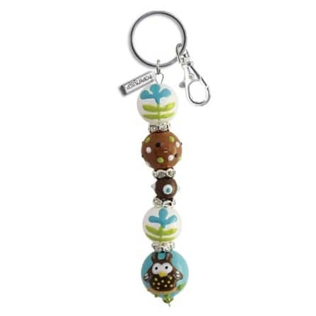 Whooos A Cute Little Owl Rhinestone Glass Beaded Kate and Macy Keychain