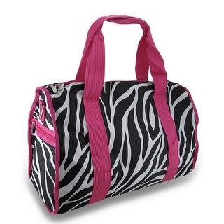 Zebra Stripe 19 in. Duffel Bag Hot Pink Trim w/Detachable Shoulder Strap