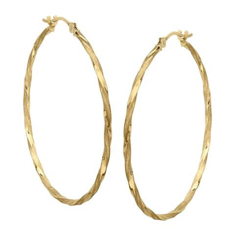 Eternity Gold Lightweight Twisted Hoop Earrings in 14K Gold - Yellow