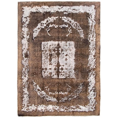 Hand-knotted Color Transition Brown Wool Rug - 9'6 x 13'1