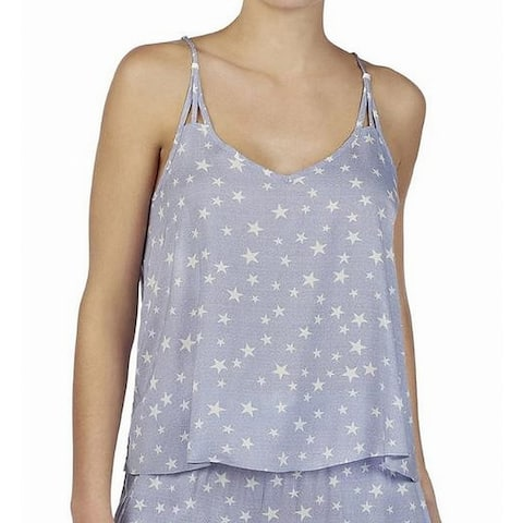 Betsey Johnson Womens Sleepshirt Purple Size Large L Strappy Star Print
