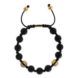 Nialaya Nialaya Matte Onyx CZ Gold 925 Silver Bracelet - l