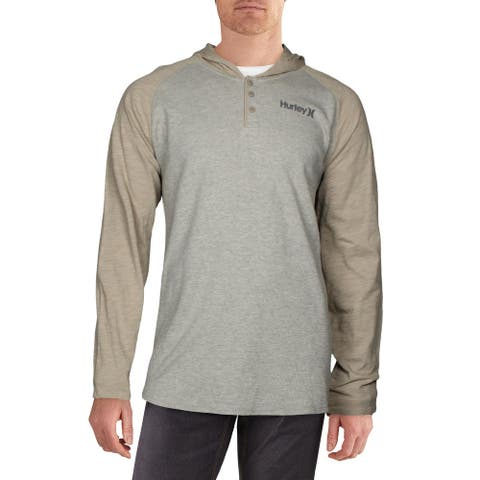 Hurley Mens Hoodie Thermal Long Sleeve - Grey - XXL