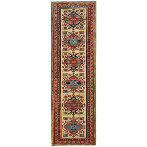 Handmade One-of-a-Kind Super Kazak Wool Runner (Afghanistan) - 3' x 9'5