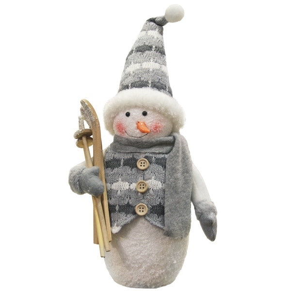 "10"" Alpine Chic Gray and White Sparkling Snowman with Skiis Christmas Decoration"