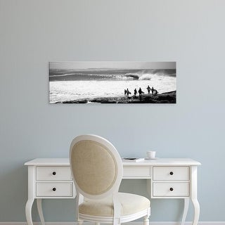 Easy Art Prints Panoramic Images's 'Silhouette of surfers standing on the beach, Australia' Premium Canvas Art