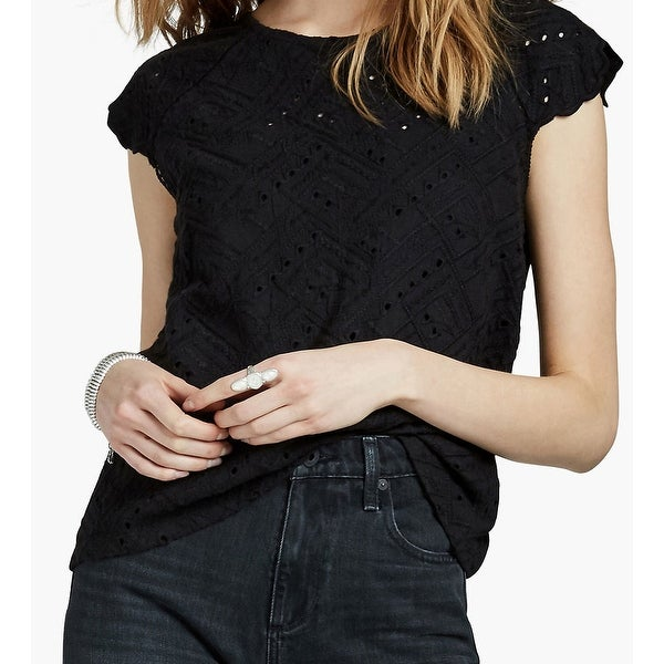 8a8319ee8fd08b Shop Lucky Brand Black Eyelet Embroidered Flutter Sleeve XL Knit Top - Free  Shipping On Orders Over $45 - Overstock - 26922421